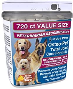Osteo Pet Glucosamine for Dogs with Chondroitin, MSM, HA, Boswellia Extract and More - 720 Ct Value Size