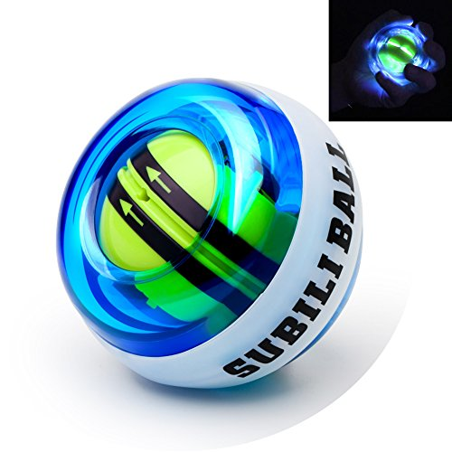 Parallel Halo Power Wrist Ball AUTO Start Wrist Exercises Force Ball Gyroscope Ball with LED Lights- Wrist& Forearm Exerciser - Arm Strengthener for Stronger Muscle and Bones (Blue+led)