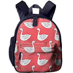 Children White Red Funny Swans School Backpack Gift For Baby Boys & Girls Bookbags School Travel Outdoor Bagpack With Pocket For Toddlers Kids