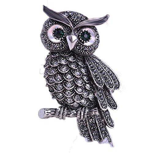 Top Cheer Vintage Style Rhinestone Crystal Owl Brooch Pin Animal Broach Pins Jewelry (Crystal Owl Pin)