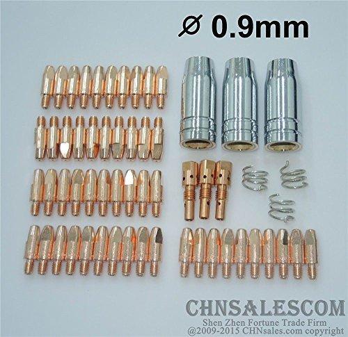 CHNsalescom 59 PCS MB 25AK MIG/MAG Welding Gun Contact Tip 0.9X28 Gas Nozzle Tip Holder