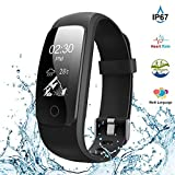 Fitness Tracker,Touch Screen Waterproof Activity Tracker with Heart Rate Monitor Watch Bluetooth Smart Watch Sleep monitor Pedometer Wristband Calorie Step Counter Watch for Android & iOS (Black)