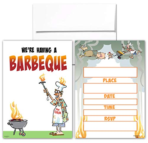 BBQ Party Invitations - 25 Funny BBQ Invites with Envelopes - Barbeque Invites - Kids & Adults]()