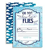Paper Airplane Time Flies Themed Birthday Party Celebration Fill In Invitations set of 10