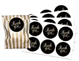 Black and gold thank you stickers, WITH gold striped paper bags, pack of 24, stickers available in 30mm or 60mm dia (60 mm stickers)