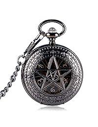 Mens Exquisite Skeleton Pentagram Pocket Watch, Mechanical Hand Winding Pocket Watches Xmas Gift