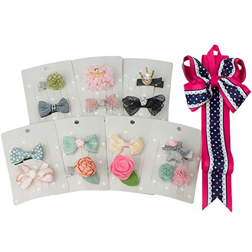 Pull Some Bow (Baby hair clips 14 pcs baby hair bows for girls by BIANHUAN)
