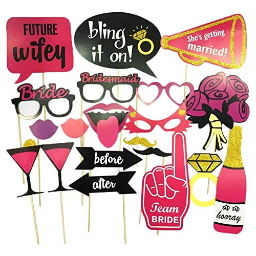 Nenluny Bachelorette Party Photo Booth Props 20pcs for Wedding Birthday Bridal Shower Girls Night Out Hen Party Suppiles Decoration (They come already assembled ready to use)]()