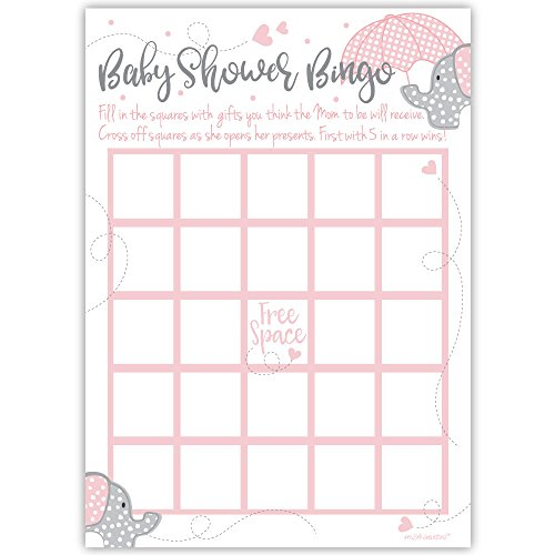 50 Pink Elephant Bingo Game Cards - Girl Baby Shower
