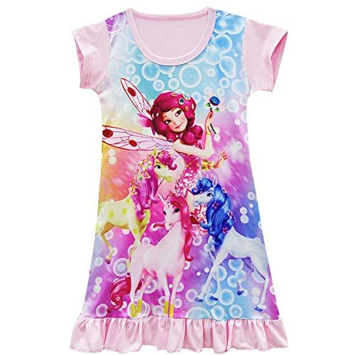 (Girls Pajamas Dress Mia and Me Printed Design Unicorn Casual Loose Pijamas Nightclothes Nightdress Pyjamas)