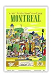 Visit Historical and Gay - Montreal, Canada - Vintage World Travel Poster by Roger Couillard c.1955 - Master Art Print - 12in x 18in