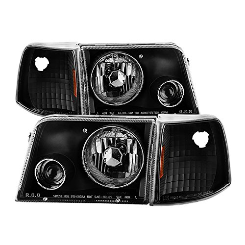 Projector Headlights Set - Carpart4u - 1993-97 Ford Ranger Projector Headlights With Corner Lights - Black Housing With Clear Lens