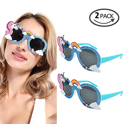 (2 Pieces Novelty Unicorn Sunglasses Party Supply Hawaiian Tropical Glasses for Beach Summer Luna Party Favors)