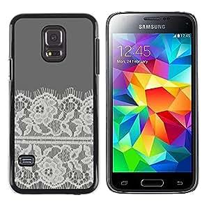 Paccase / SLIM PC / Aliminium Casa Carcasa Funda Case Cover - Embroidery White Linen Grey - Samsung Galaxy S5 Mini, SM-G800, NOT S5 REGULAR!