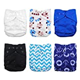 Babygoal 6pcs Baby Cloth Diaper Covers-Adjustable Reusable Washable Cloth Diaper Covers for Fitted Diapers and Prefolds Baby Gift Sets for Boy 6DCF02-CA