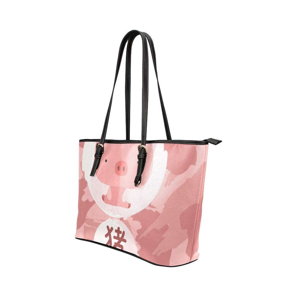 2019 Mascot Lucky Animal Cute Pig Large Soft Leather Portable Top Handle Hand Totes Bags Causal Handbags With Zipper Shoulder Shopping Purse Luggage Organizer For Lady Girls Womens Work