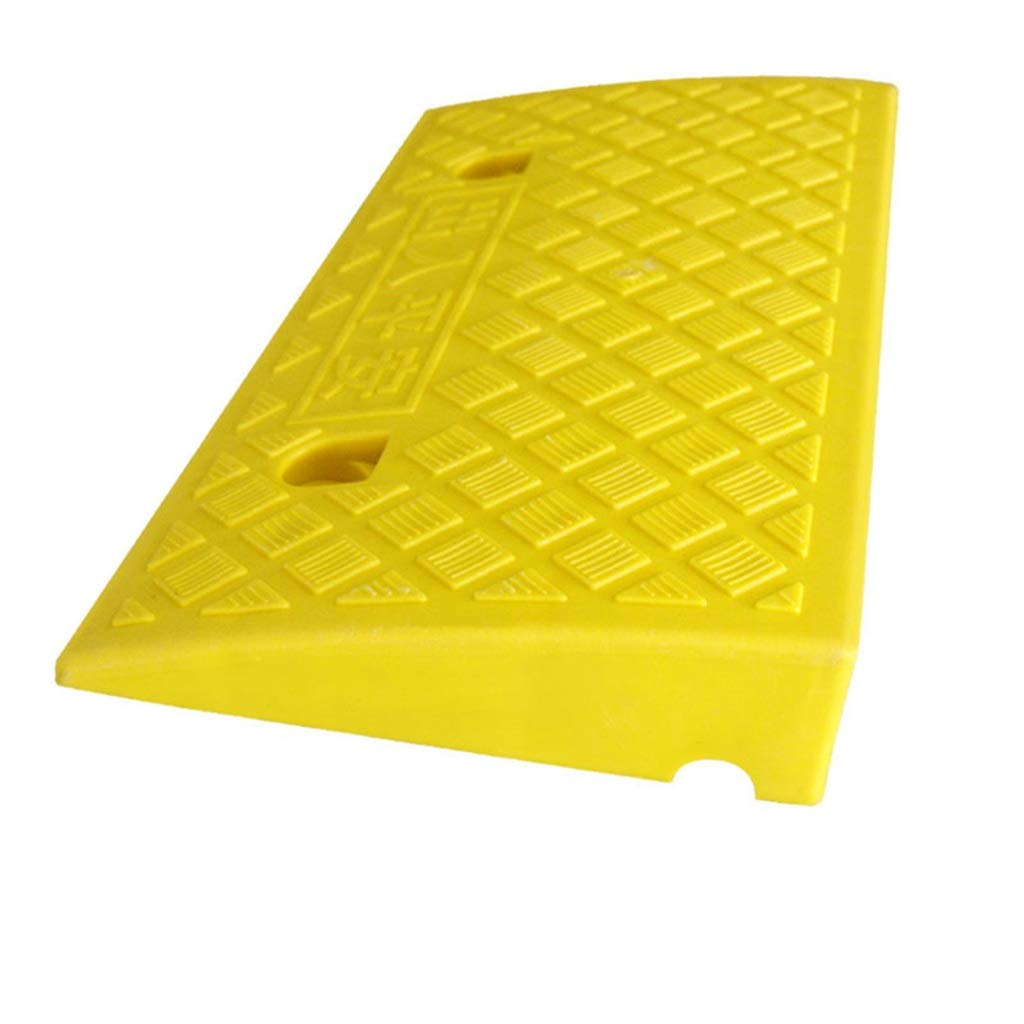 CSQ Ramps Portable Slope Pad, Kerb Ramps Plastic Step Uphill Car Deceleration Zone Threshold Ramps Bicycle Wheelchair Uphill Pad, 49.5 * 26.8 * 6.8CM Kerb Ramps (Color : Yellow)