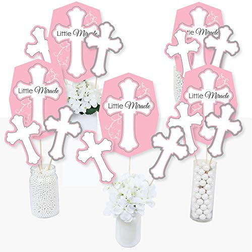 Little Miracle Girl Pink & Gray Cross - Baptism or Baby Shower Centerpiece Sticks - Table Toppers - Set of 15 -