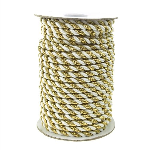 Homeford Firefly Imports Twisted Cord Rope 2-Ply, 6mm, 25 Yards, Gold Trim, White,
