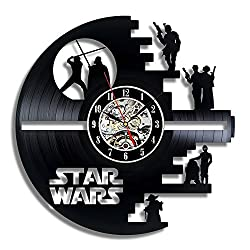 Death Star Vinyl Record Wall Clock - Contemporary Star Wars Fan Art Design - Get unique living room wall decor - Gift Ideas for His and Her