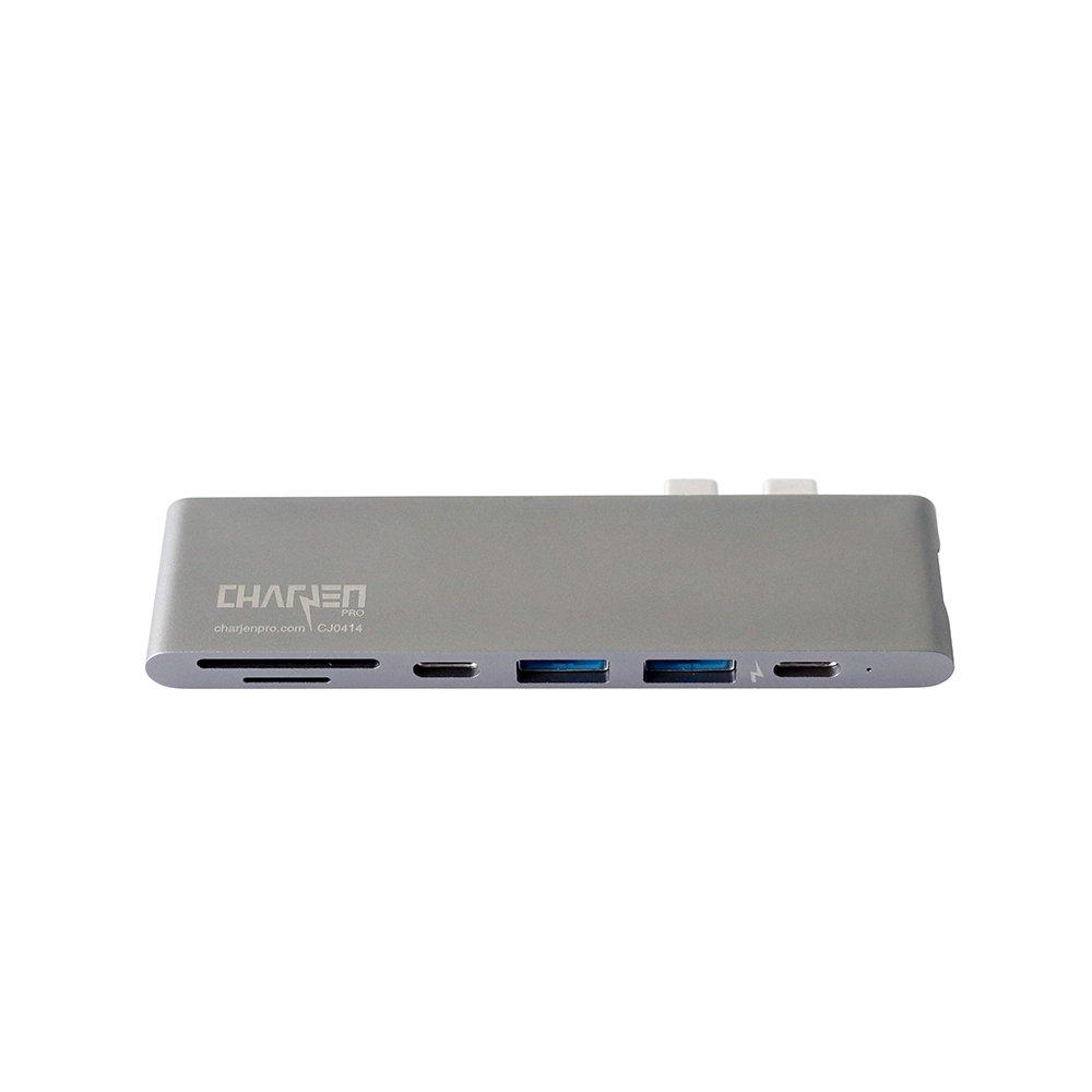 USB C Hub for Apple MacBook Pro 2018, 2017, 2016 - USBC Adapter, Premium MacBar, Thunderbolt 3 (TB3) 40GB/S data, 5K@60Hz, HDMI 4K, Type C, 2 USB 3.0, SD and Micro SD Card Reader, 7in1, Space Gray by CharJenPro (Image #8)
