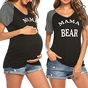 Ekouaer Women Maternity Shirt Funny Print Side Ruched Raglan Short Sleeve Cute Pregnancy Top