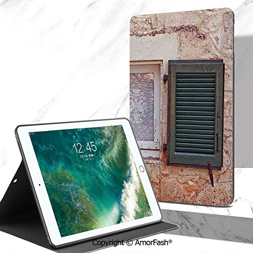 Shutters Decor Samsung Galaxy Tab A 7.0 Case,Light Weight [Anti Slip] Shock Proof Cover (SM-T280/SM-T285),Mediterranean Cottage with Antique Window Shutters Print Greece Island Image Home Deco