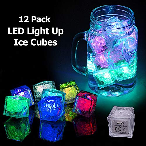 12 Pcs Party Decorative LED Ice Cubes Light Multi-Color Liquid Sensor Ice Cubes Light LED Glow Light Drinking Wine Wedding Party Decoration, Multicolor, Set Pack of 12.]()