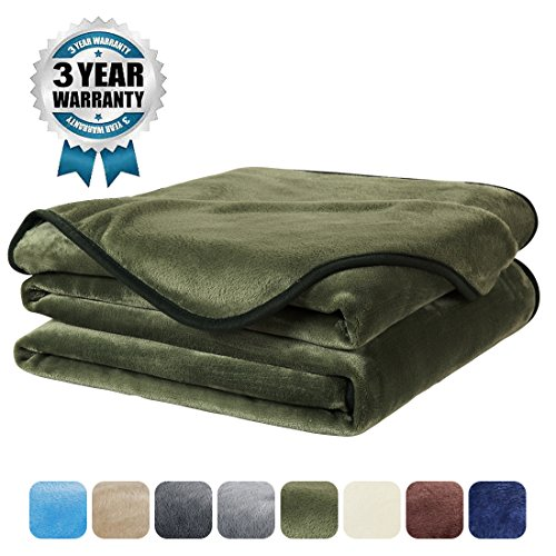 Luxury Fleece Super Soft Thermal Blanket Warm Fuzzy Microplush Lightweight Blankets for Bed Sofa, Seashell Series,Twin,66 by 90 Inches,Olive Green (Olive Green Sofa)