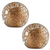 "Glitter 4"" Clear and Gold Glass Ball Paperweights, Pack of Two (Bundle)"