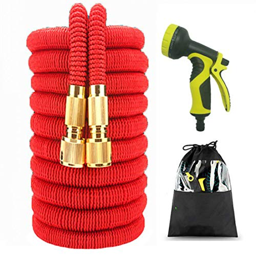 25 100Ft Garden Watering Hose 4 Types EU Version Flexible Rubber Car Wash Water Hose Pipe with Spray Gun to Watering Lawn,25Ft,Red Hose Set