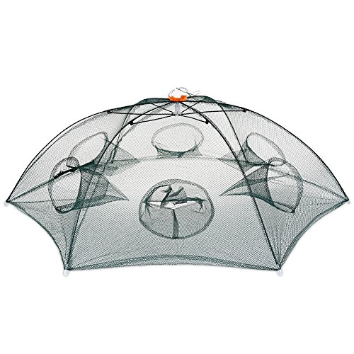 ed Fishing Net Meshy Fish Trap with 6 Holes Automatic Fish Cast Net Cage, Suitable for Outdoor Fishing (6 Holes) ()
