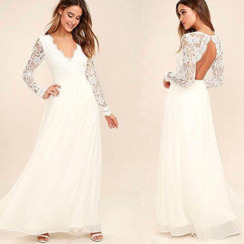 Largos Bodas Mangas Cuello Largas Elegante Mujer V Encaje Vestidos Blanco Novia 0OazCwq