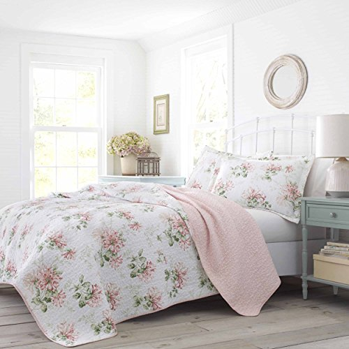 (Laura Ashley Honeysuckle Quilt Set Twin Pastel Pink)