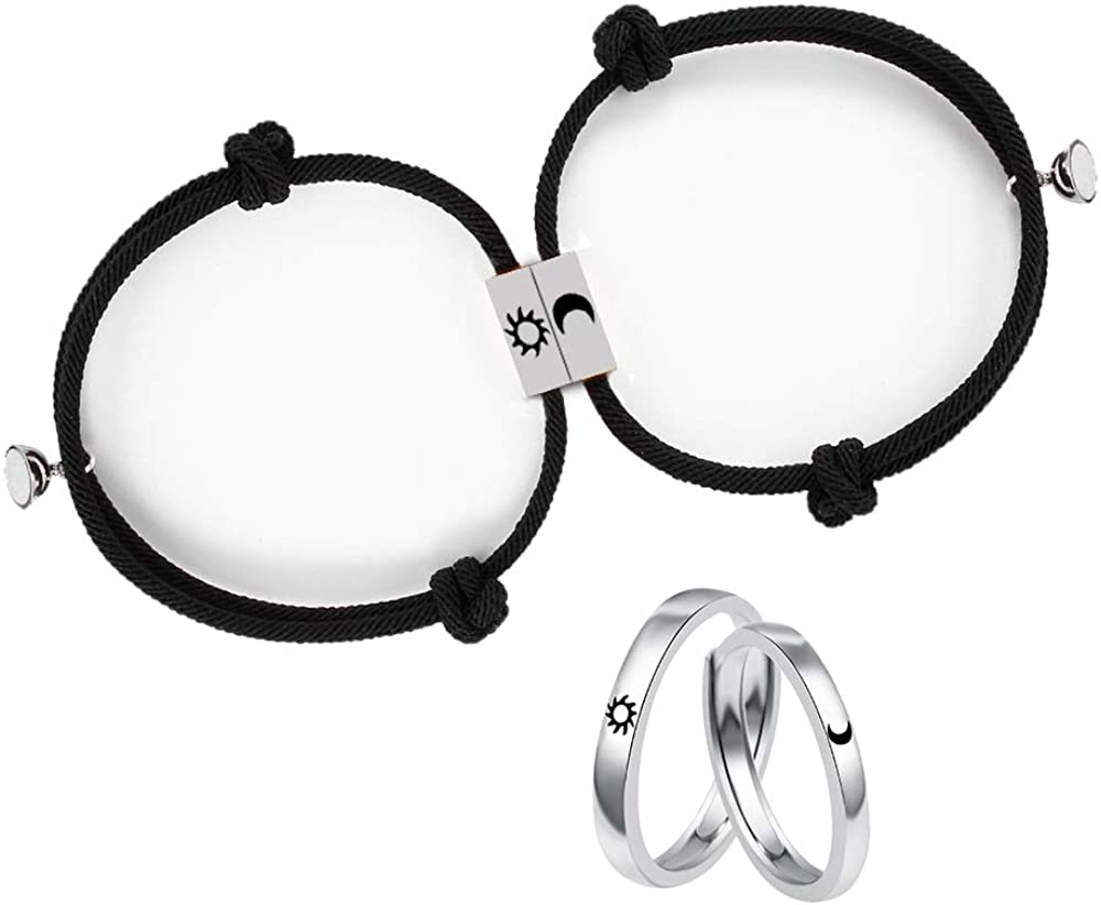 BUUFAN 2PCS Couple Promise Rings Set Sun and Moon High Polish Opening Rings for Lovers Best Friends
