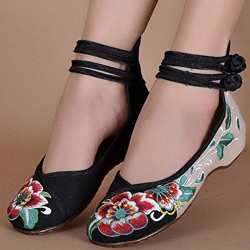 Bininbox Kvinner Kinesisk Brodert Blomster Flat Brude Mary Jane Ballett Sko  Svart ...