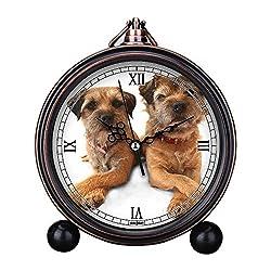 Vintage Retro Living Room Decorative Non-ticking, HD Glass Lens, Quartz, Analog Large Numerals Bedside Table Desk Alarm Clock Cute Cat Dog Series -226. Border Terrier cross paws