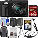 Panasonic Lumix DC-ZS70 4K Wi-Fi Digital Camera (Black) with 64GB Card + Case + Battery & Charger + Selfie Stick + Tripod + Strap + Kit