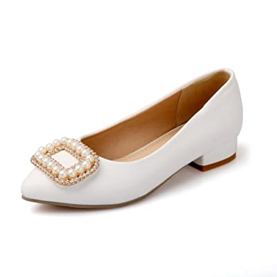 A&N Womens Charms Square Heels Pointed-Toe Urethane Flats-Shoes