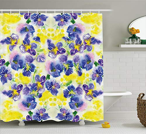Ambesonne Watercolor Flower House Decor Shower Curtain, Butterfly Violet Field Garden in Vivid Colors Nature Print, Fabric Bathroom Decor Set with Hooks, 70 Inches, Yellow Purple