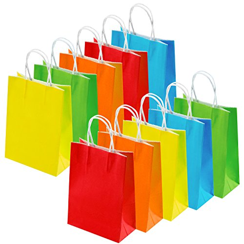 Coobey 20 Pieces Paper Party Bags Gift Bag Kraft Bag with Handle for Birthday, Tea Party, Wedding and Party Celebrations, Multicolour (Set B)