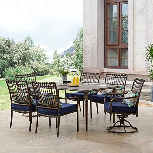 Hanover SUMDN7PCSW2-NVY Summerland 7-Piece 4 Stationary Chairs, 2 Swivel Rockers, and a 68 x 40 Faux-Wood Table Outdoor Dining Set, Navy