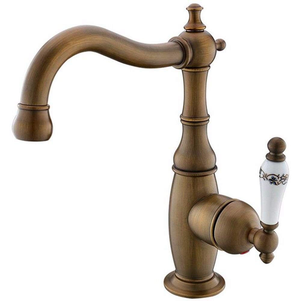 Oudan Basin Mixer Tap Bathroom Sink Faucet golden basin cold water tap full Brass gold plated antique fittings, B (Color : A)