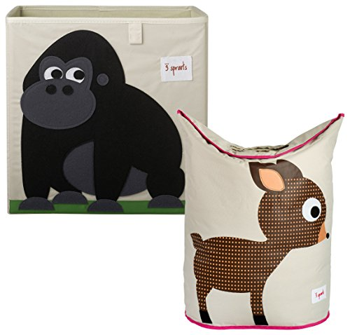 3 Sprouts Storage Box and Laundry Hamper, Gorilla/Deer