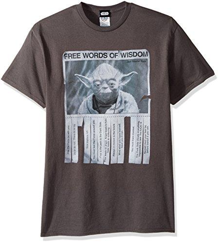 Lucas Men's Star Wars Words of Wisdom T-Shirt, Charcoal, X-Large Wisdom T-shirt