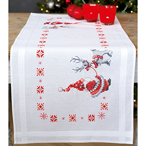 Vervaco Christmas Elves Table Runner Stamped Cross Stitch Kit, 16