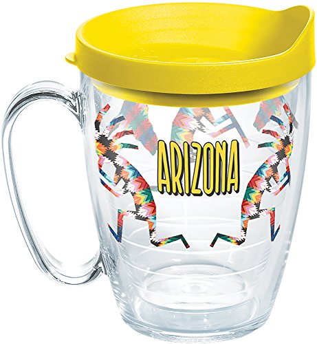 Tervis 1269337 Arizona Kokopelli Tumbler with Wrap and Yellow Lid 16oz Mug, Clear