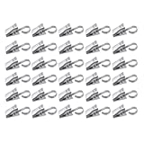 Yueton Pack of 30 Stainless Steel Clips w/ Hook for Curtain, Photos, Home Decoration