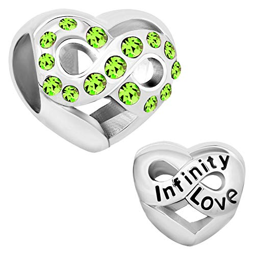 CoolJewelry Infinity Heart Love August Birthday Charms Beads for Charms Bracelets (August Charm Boy Birthstone)
