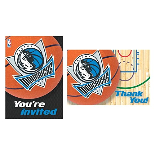 Dallas Mavericks NBA Party Invitation and Thank You Cards , Paper, 3